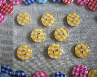 Buttons yellow gingham in resin, 13 mm, new, by 8.