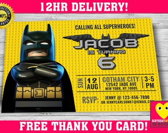 Batman LEGO Invite with FREE Thank you Card! Lego Batman Birthday, Lego Batman Invitation, Lego Batman Party, Lego Batman Birthday