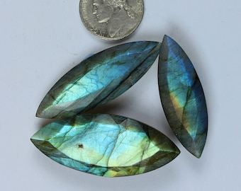 3 Pcs Of 135Cts, 58x20mm Natural Blue Fire Labradorite Normal Cut, Spectrolite Faceted Labradorite Gemstone Jewelry Making Gemstone #SKU2161