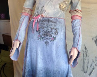 TeeRags Frozen princess dress blues and pink