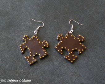 Puzzle in polymer clay earring