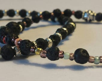 Rainbow (Chakra) colored Lava stone bracelet SET