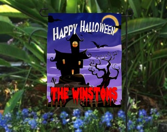 spooky house personalized halloween garden flag outdoor halloween decorations - Personalized Halloween Decorations