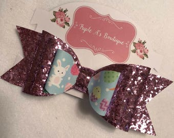 Pink glitter, easter bow.