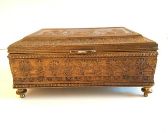 Jennings Brothers JB Jewelry Casket Trinket Box Bronze Plated Raised/Repousse Gothic Ladies Antique 1920s