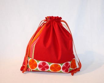 Pouch / small red bag with stripe rosettes