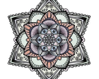 A5 Mandala Print in chilled out colours!