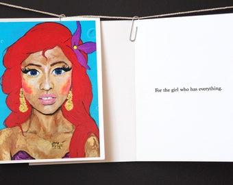 Birthday Little Mermaid Nicki Minaj Inspired Greeting Card