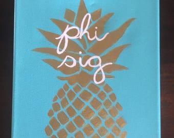 Phi Sigma Sigma Pineapple Painting