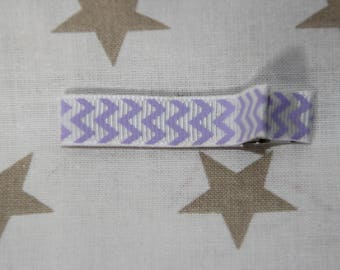 Barrette hair clip Barrette anti-slip anti-slip white purple zig - zag stitch
