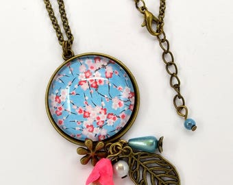 Necklace cabochon glass cherry blossom pattern