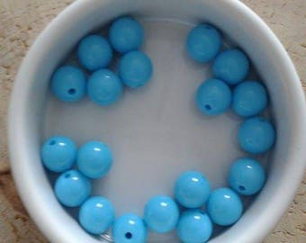 Set of 20 beads 10mm acrylic Turquoise (19)
