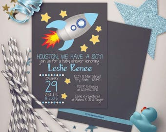 Outer Space Rocketship Baby Shower Blues Invitation