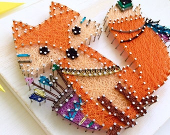 Fox String Art, wooden decor in the nursery,  on a wall or on a shelf, woodland animals baby shower,woodland animals nursery,string art baby