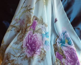 Pastel Blue Lightweight Scarf Turquoise Lavender Purple Shawl Chiffon Georgette Polyester Silk Scarf Hijab Bandana Wrap Vintage Blue Flowers