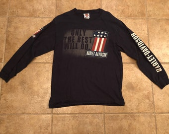 Vintage Harley Davidson Long Sleeve Shirt Navy Size Medium 2011 Motorcycle Bikes Pelham Alabama