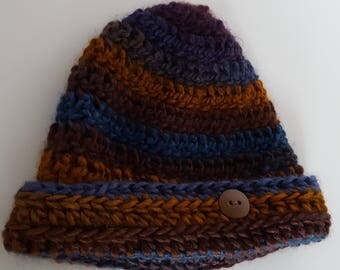 Crocheted Navy and Brown Hat