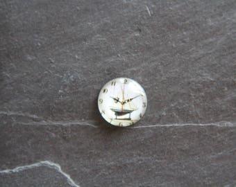 "Cabochon 20 mm glass clock ""Sailboat"""