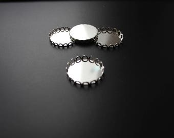 4 supports for cabochons 20 mm, silver, lace