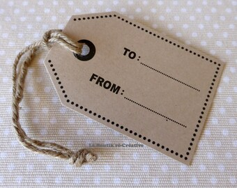 1 x TO Kraft card stock gift Tag... Dotted... FROM + Mint Twine