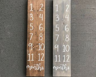 Baby Monthly Milestone Wood Sign | Wood Sign | Hand Lettered |