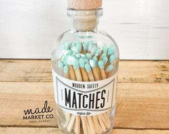 Mint Tip Colored Matches. Match Sticks Decorative Glass Bottle. Farmhouse Home Decor. Unique Gifts for her. Best Seller. Most Popular Item.