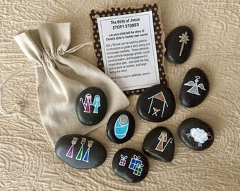 Nativity Story Stones, Christmas Story Stones, Birth of Jesus Story Stones, Manger Scene Story Stones, Nativity Set, Hand painted rocks