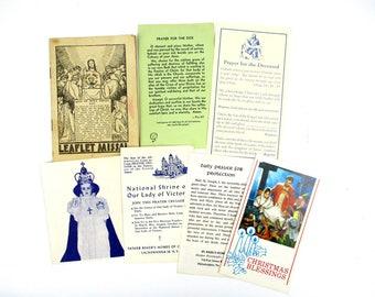 Lot of 7 Vintage Catholic Pamphlets,Mid Century Religious Ephemera,Holy Thursday Leaflet Missal,Prayer for Deceased,Shrine Our Lady Victory