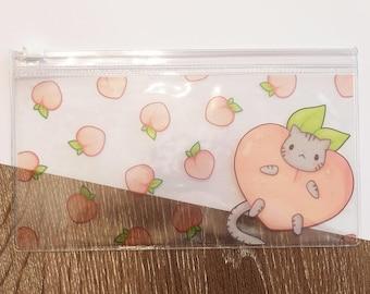 Peach Cat Clear Pencil Case - Clear Pouch
