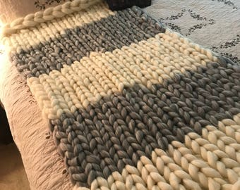 Chunky handmade knit throw blanket- soft wool