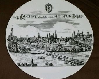 Vintage Augusta Vindelicorum Augspurg Bavaria Germany Souvenir Plate