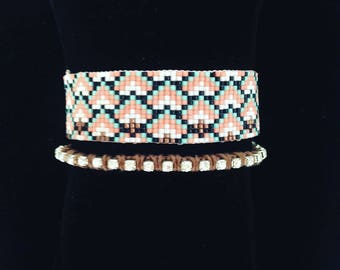 Cuff bracelet woven Miyuki beads and rhinestones - turquoise coral Brown