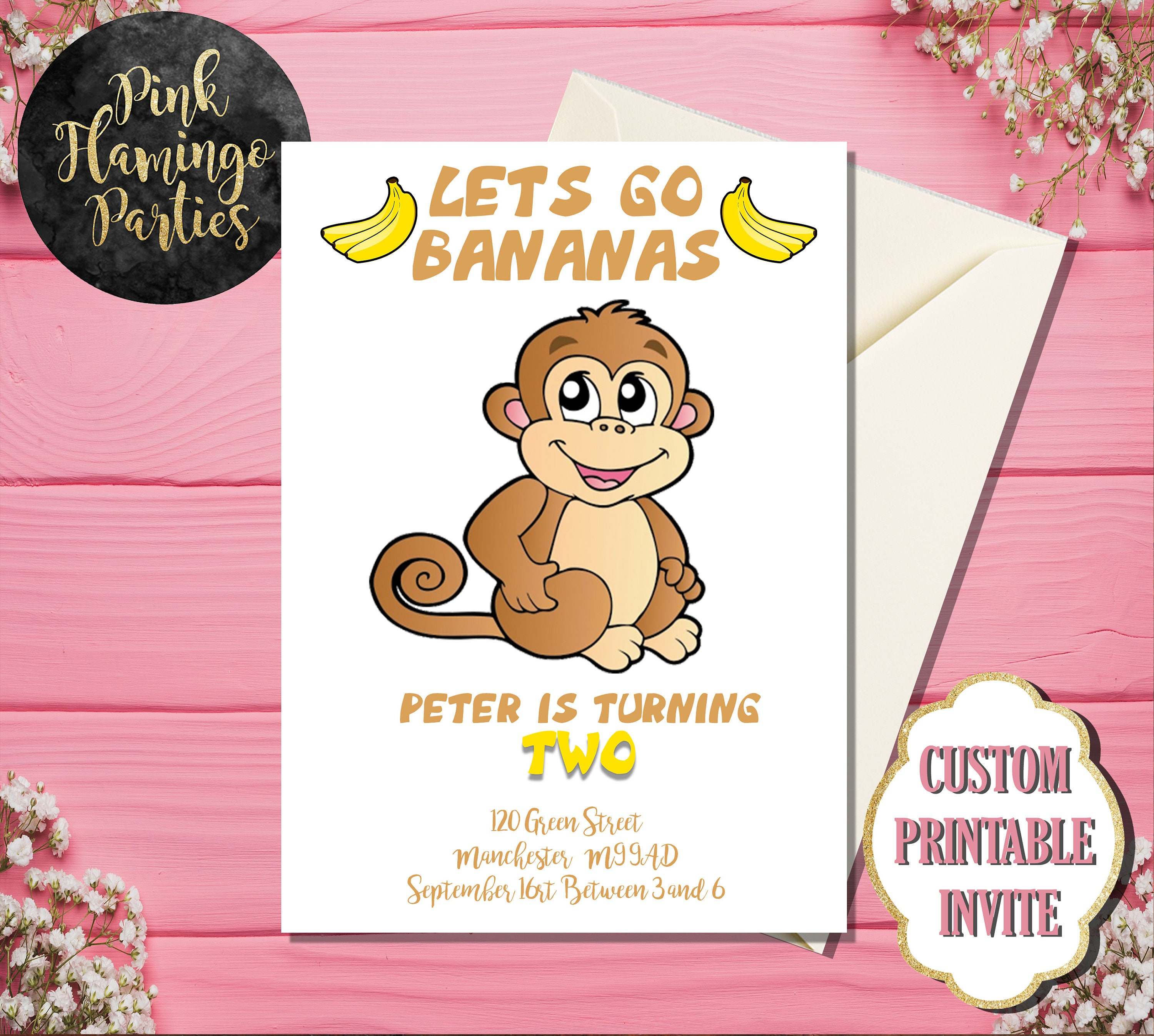 1st Birthday Monkey Invitations Images - Invitation Templates Free ...