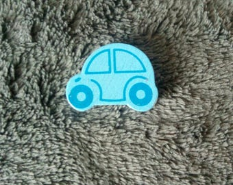 Blue wooden car shaped bead