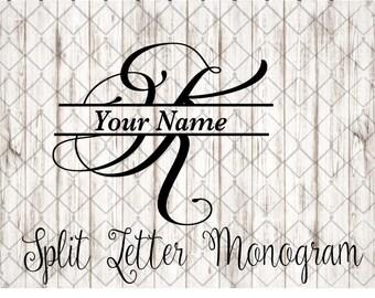 Split letter K SVG/K Split Mongram svg/Divided Initial svg/Cursive Split Letter/Split Monogram SVG/Monogram SVG/Monogram