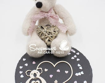 Embellishment frame heart with little koala for Scrapbooking, Cardmaking, Home decor and creative.