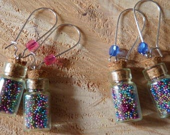 EARRINGS * p' little vial to the micro beads * silver backed