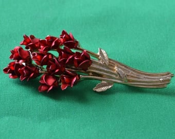 Vintage 1997 DM Goldtone Red Flower Bouquet Pin Brooch
