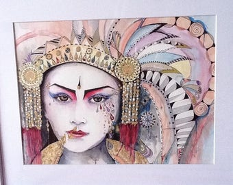 """Portrait: """"colours of Asia"""", this is a watercolor and multi-technical"""