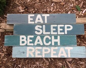 Beach Themed Reclaimed Wood Sign