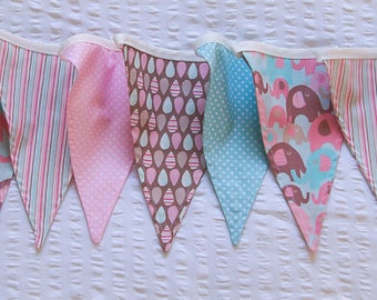 Blue, pink and chocolate elephants and stripes fabric buntings / pennant flags perfect for little girl's nursery