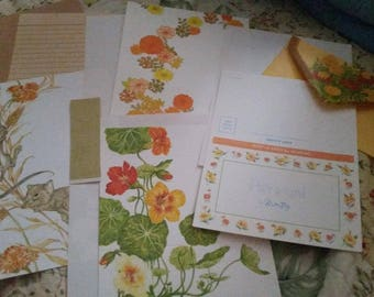 Vintage Stationery Collection ~ Fall Flowers:  Marigolds, Nasturtiums, Chrysanthemums, &  More Collection