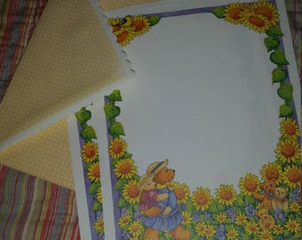 Vintage Stationery Collection ~ Yellow Sunflowers and Bears Stationery  Mini Collection