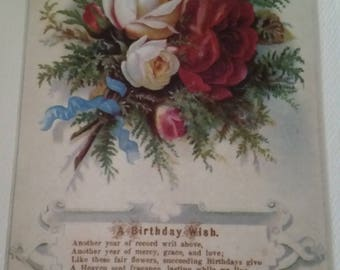 Vintage Greeting Card - Embossed Victorian Birthday Card - Ambassador Heirloom Classics - Cabbage Roses