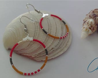 Creole ethnic with beads Miyuki-red, grey, mustard, silver