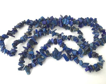 Lapis lazuli chips wire, grade B natural whole 91cm
