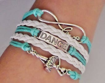 Dance bracelet, Dancer gift, Gift for Dancer, Dance Teacher gift, Coach jewelry, Dance Music jewelry, Dancing jewelry, Blue-mint/white
