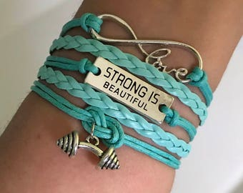 Strong is beautiful, Fitness bracelet, Gym bracelet, Workout gift, Dumbbell charm, Fitness jewelry, Crossfit bracelet jewelry, Gym gift