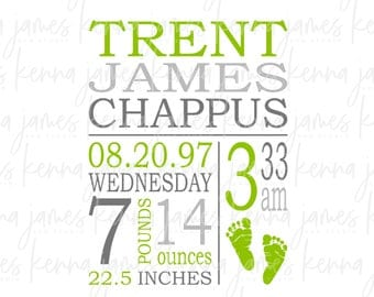 free birth announcement template - birth stats svg etsy