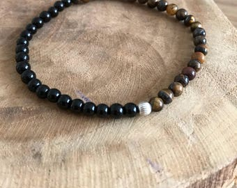 Mixed silver bracelet, Tiger eye and onyx
